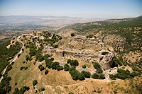 Aerial photograph of the ruins of the fortress of Nimrod in the Northern Golan Heights