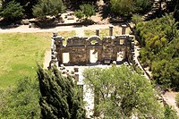 Aerial photograph of the ancient synagogue of Baram in the Upper Galilee