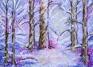 ´Amongst the Snow´ 2 5 x 3 5 inch, oil pastel on paper