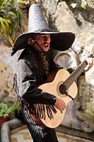 Mariachi playing guitar and singing