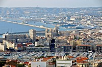 Downtown and Vieux-Port seen from the basilica of Notre-Dame de la Garde, Marseille, Bouches-du-Rhône, France