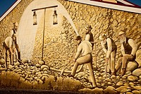 Gold fields mural, Westport main street, West Coast, New Zealand
