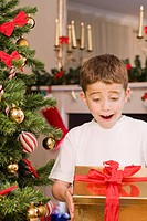 Surprised boy holding Christmas gift (thumbnail)