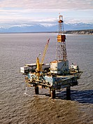Offshore oil and gas production in the Cook Inlet, Alaska. The oil platform BRUCE is operated by Chevron