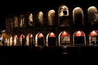 Forum illuminated at night, Verona, Italy