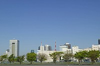 Cityscape under blue sky, copy space, Tokyo prefecture, Japan