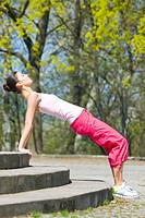 young woman training at the park