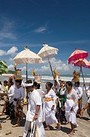Traditional Hindu Ceremony, Kuta Beach, Bali, Indonesia