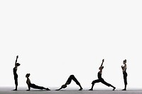 Woman in various yoga poses