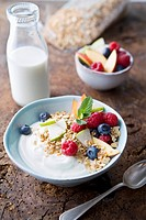 Bowl with yogurt, fresh fruit and oats