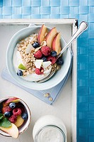 Tray with bowl of oats, fruit and milk