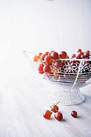 Fresh red grapes in wire basket