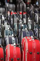 rows of wheeled luggage cases in a row outside a shop in puerto de la cruz tenerife canary islands spain