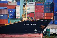 Singapore,Kampong Jagoh, Singapore Harbour, The Kota Raja merchant ship and containers