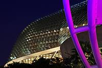 View of the Esplanade Theaters on the Bay by night with the external auditorium in the foreground, Esplanade Drive, Singapore, Singapore