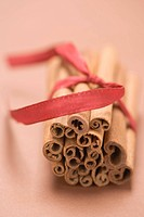 Cinnamon sticks tied together with red ribbon