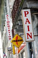 Sign for a boulangerie or bakery in France selling pain or bread