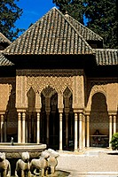 Spain, Andalusia, Granada, the Alhambra Palace, listed as World Heritage by UNESCO, the Patio de Los Leones Court of the Lions, fountain whose basin r...