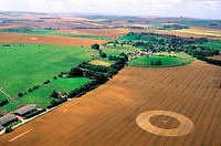 United Kingdom, Wiltshire, Crop circles, a formation in the area of Avebury aerial view
