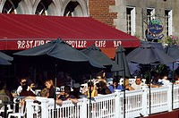 Canada, Quebec Province, Montreal, Vieux Montreal Old Montreal District, restaurant terrace on Place Jacques Cartier