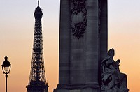France, Paris, Pont Alexandre III, base of one of the 4 columns mounted with equestrian statues decorating the bridge and the Eiffel Tower