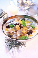 Herring salad with onion and raisins