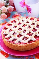 Rhubarb tart with meringue lattice