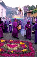 Guatemala, Central Cordillera, département de Sacatepequez, Antigua Guatemala, Holy Week, procession of the branches