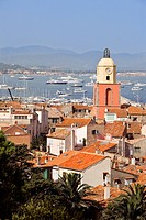 France, Var, Saint Tropez, the village and the church tower bell