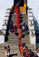 Bhutan, Paro District, Rinpung Dzong Buddhist fortress and monastery, Tsechu Annual Buddhist Festival, processions from the main monastery making the ...