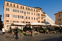 Italy, Lazio, Rome, historical centre listed as World Heritage by UNESCO, Piazza Campo dei Fiori, flower market