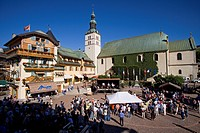 France, Haute Savoie, Megeve, village square and Saint Jean Baptiste Church