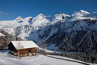 France, Haute Savoie, Le Grand Bornand, Plans and Bouchet valley overlooking the Aravis Chain