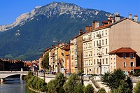 France, Isere, Grenoble, Saint Laurent District on the bank of the Isere river with the Vercors Massif in the background