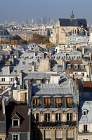 France, Paris, rooftops, Saint Eustache church and La Defense seen from the top of Centre Pompidou