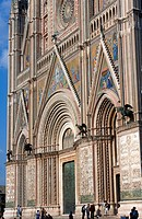 Italy, Umbria, Orvieto, the Duomo cathedral, the western facade