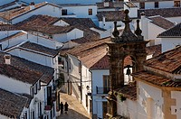 Spain, Andalusia, Sierra Grazalema Natural Park, white village of Grazalema, church tower