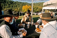 United States, South Dakota, Custer State Park, the Buffalo roundup which takes place every year in november, cowboys having breakfast