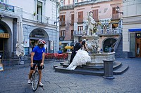 Italy, Campania, Amalfi Coast, listed as World Heritage by UNESCO, Amalfi, St Andrew Fountain or People Fountain on Piazza Duomo