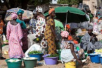 Senegal, Thies Region, Kayar, vegetable seller on the market of the city