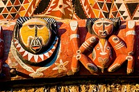 Papua New Guinea, East Sepik Province, region of Maprik, village of Brigidi, detail of the painted facade of the house of spirits Haustabaran belongin...