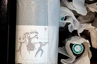 France, Gironde, Saint Emilion, Loire Wines, AOC Sancerre, Bottles of Wine wrapped with Silk paper in CDP Store