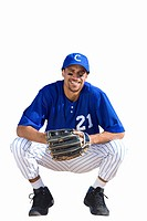 american baseball player crouching down, cut out