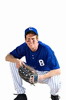 american baseball player holding glove, cut out