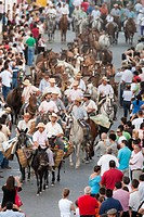 ´Saca de las yeguas´ festival, town of Almonte, province of Huelva, Andalusia, Spain. Dating back to 1504, every 26th of June, the ´yegüerizos´ (cowbo...