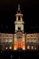 City Hall and light show designed by Benoît Quero for Christmas, Rennes, Ille-et-Vilaine, Brittany, France