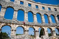 Maintenance of Pula Arena, Roman amphitheatre, Pula, Istria, Croatia