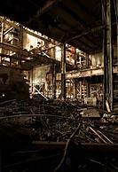 Interior view of a redundant factory