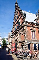 Historic building street cafe Haarlem Holland