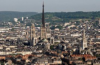 France, Seine Maritime, Rouen, downtown with Notre Dame Cathedral and Saint Maclou Church